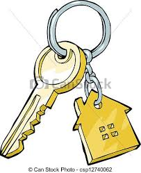 House Key On A White Background Vector Illustration Clip Art