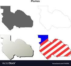 Plumas County California Outline Map Set Vector Image