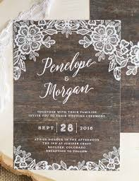 Our New Woodgrain Lace Wedding Invitations Feature A Delicate Floral Border Against Rustic Wood Background This Beautiful Design Is Perfect For