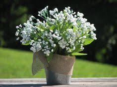 Rustic Wedding Centerpiece White Babies Breathe Silk Flowers Tin Bucket Burlap Bow Home Decor