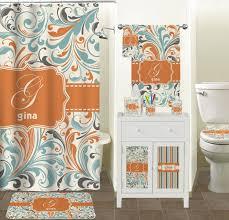 Orange & Blue Leafy Swirls Shower Curtain Personalized