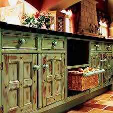 Outstanding Green Distressed Cabinets Finished With Black Countertop As Well Door And Drawers Storage In Rustic Kitchen Ideas Furnishing Decors