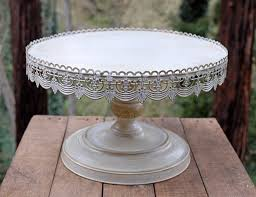 Vintage Metal Cake Stand White 16in Rustic StandsWedding