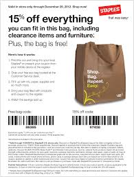 15% Off What Fits In The Free Bag At Staples Office Supply ...