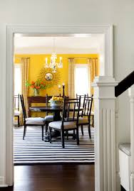 Dark Yellow Curtains Dining Room Traditional With Chairs Sunburst Mirror Flower Arrangement
