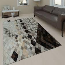 wohnzimmer teppich leder wolle modern muster rauten karo in