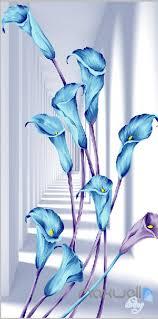 Wall Mural Decals Flowers by 3d Blue Flowers Corridor Entrance Wall Mural Decals Art Print