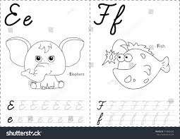Cartoon Elephant And Fish Alphabet Tracing Worksheet Writing A Z Coloring Book Educational