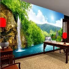 beibehang custom tapete 3d wandbild wasserfall berg see wohnzimmer schlafzimmer hintergrund wand foto tapete papel de parede