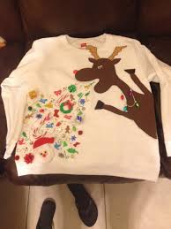 Diy Christmas Story Leg Lamp Sweater by My Replication Of A Reindeer Throwing Up Ugly Christmas Sweater I