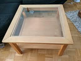 tisch couchtisch wohnzimmer holz massiv buche glaseinsatz