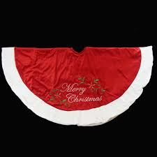 48 Red Plush Merry Christmas Poinsettia Embroidered Tree Skirt With White Trim