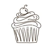 Swirly Icing Cupcake Outline With Cherry Isolated on White