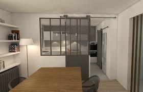 cuisine et maison verrière style atelier séparation cuisine et salon
