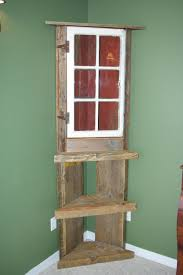 Barn Wood Corner Shelf Hutch
