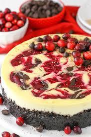 Cranberry Fudge Swirl Cheesecake with cranberry and chocolate fudge swirled throughout