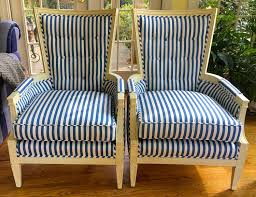 Pair Of French Style Blue & White Striped Chairs With Buttoned Backs -  Totally Refurbished - Shipping Varies