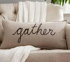 thanksgiving sentiment lumbar pillow cover pottery barn