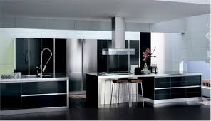 Modern Black And White Kitchen Decor With Luxurious Cabinetry Extended Bar Glossy