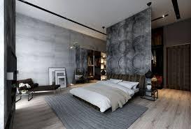 modernes schlafzimmer mit beton wandverkleidung in
